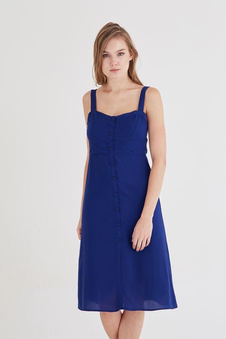 Bayan Lacivert Düğme Detaylı Elbise