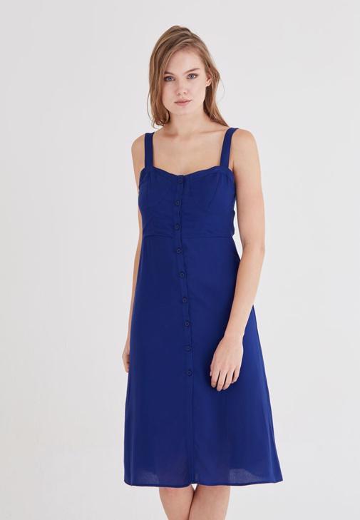 Lacivert Düğme Detaylı Elbise