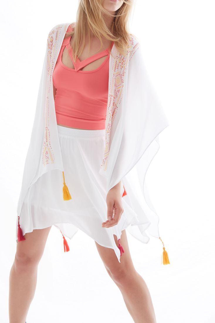 Bayan Beyaz Baskılı Kimono
