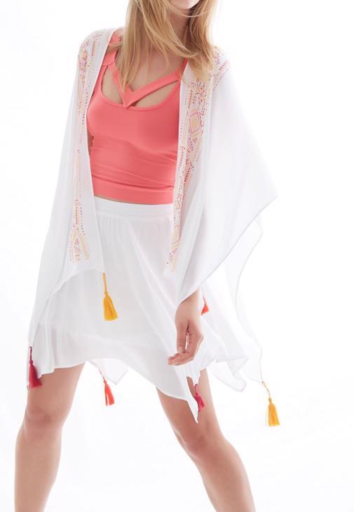 Beyaz Baskılı Kimono
