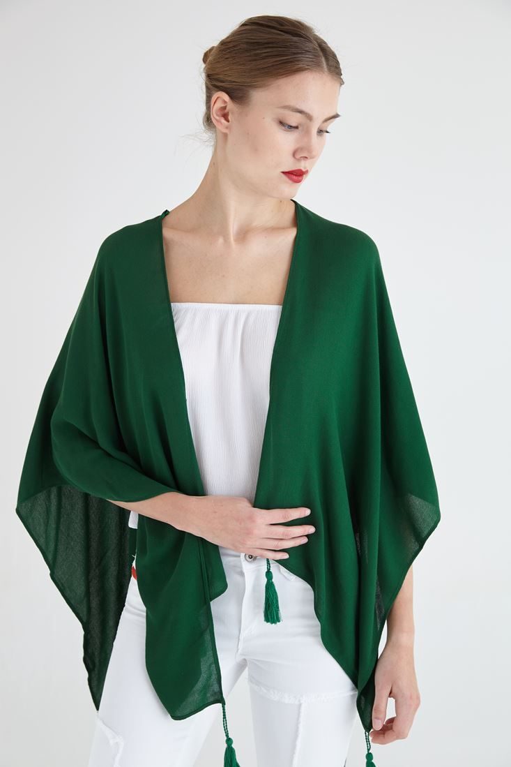 Bayan Yeşil Püsküllü Bolero Şal