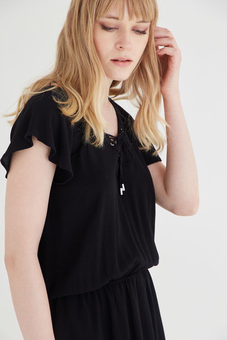 Bayan Siyah Beli Büzgülü Elbise