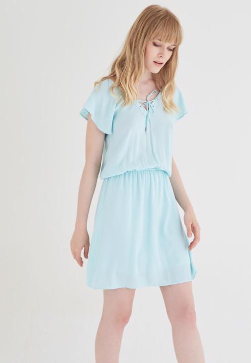 Mavi Beli Büzgülü Elbise