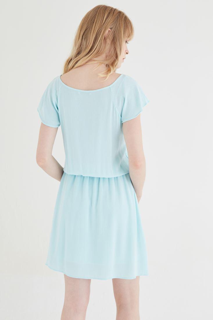 Bayan Mavi Beli Büzgülü Elbise
