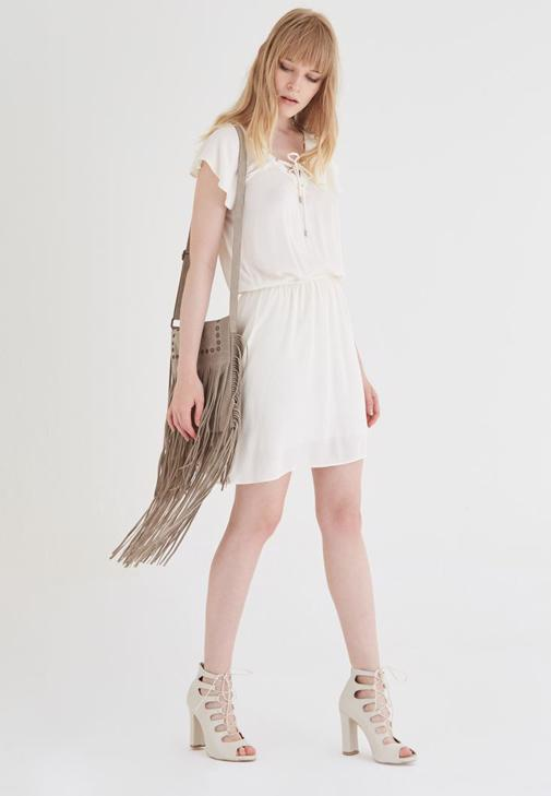 Beyaz Beli Büzgülü Elbise