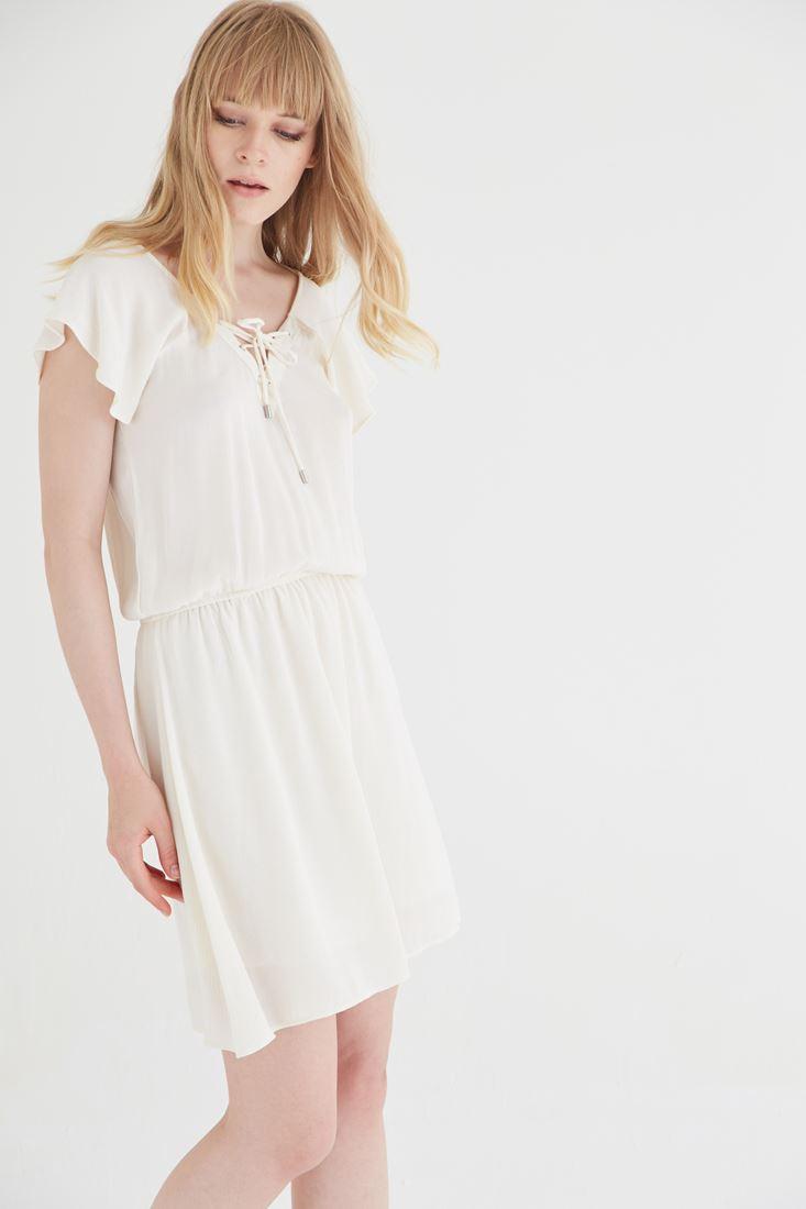 Bayan Krem Beli Büzgülü Elbise
