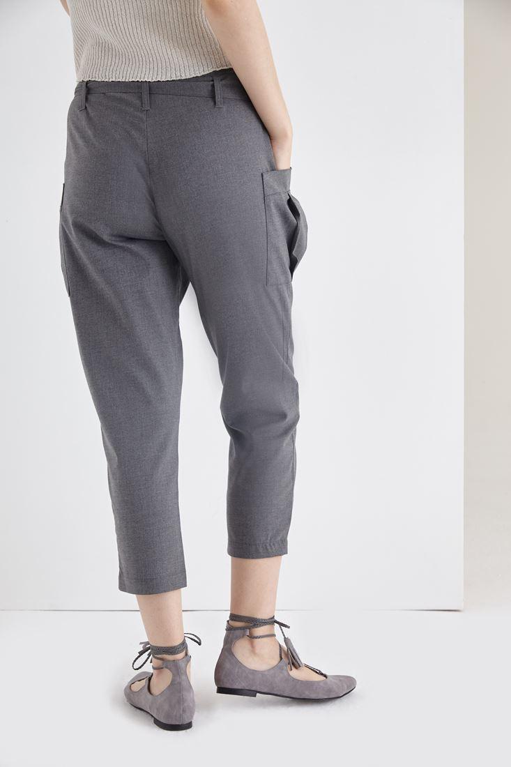 Bayan Gri Yandan Cepli Kısa Paça Pantolon