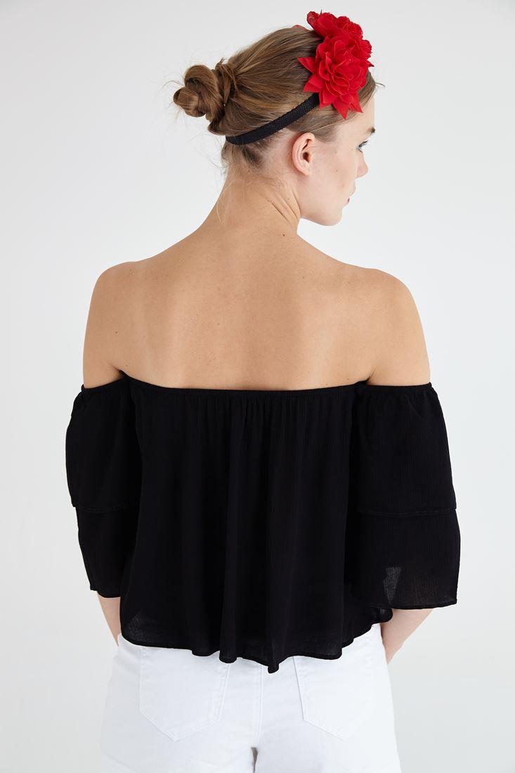Bayan Siyah Geniş Kol Şifon Bluz