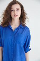 Bayan Mavi Pamuk Gömlek
