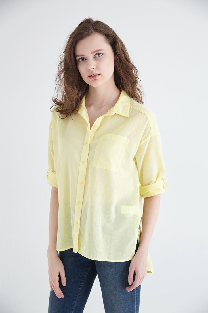 Bayan Sarı Pamuk Gömlek