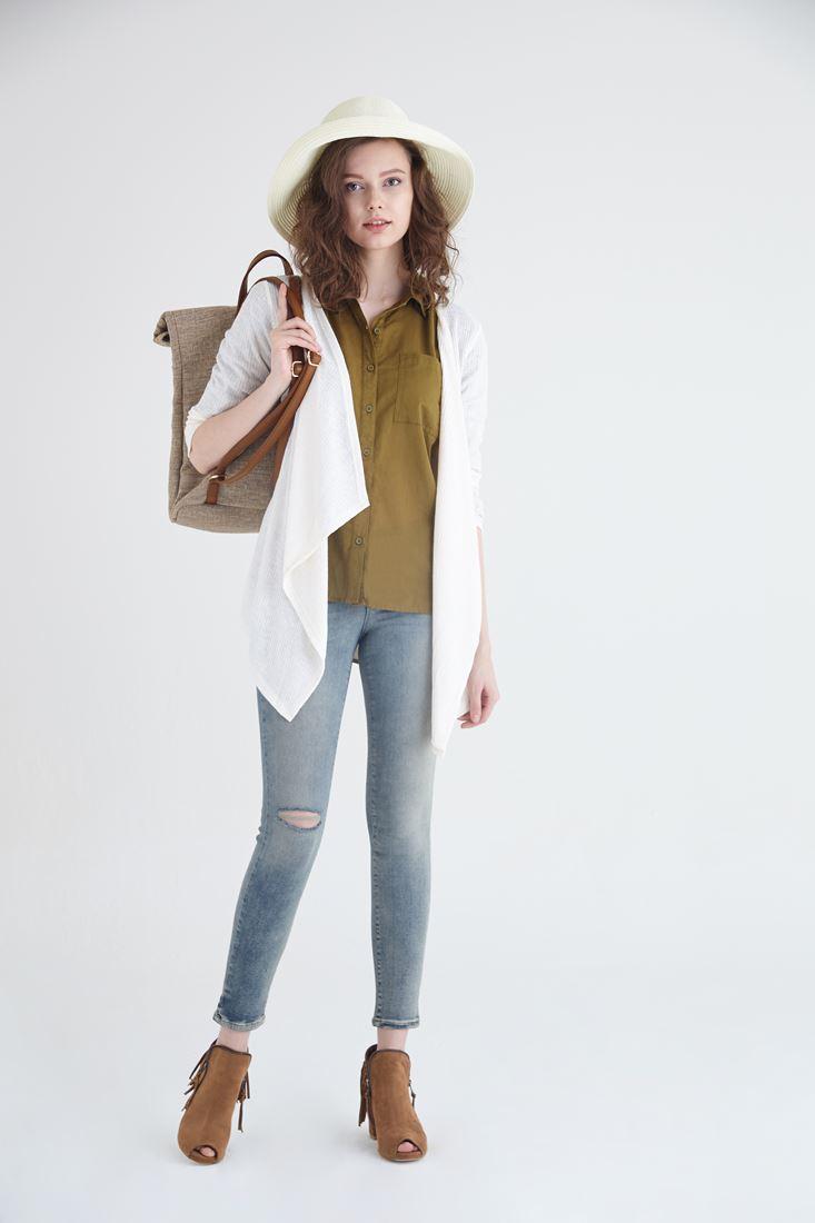 Bayan Yeşil Pamuk Gömlek