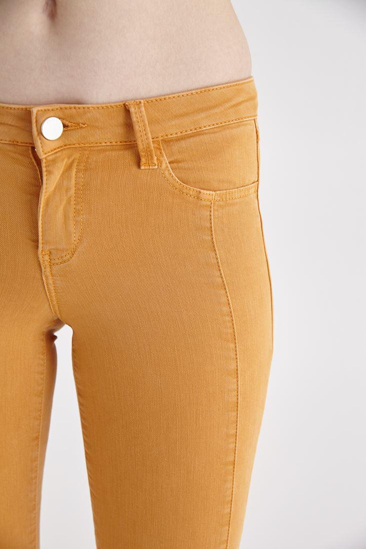 Bayan Turuncu Düğme Detaylı Dar Paça Pantolon