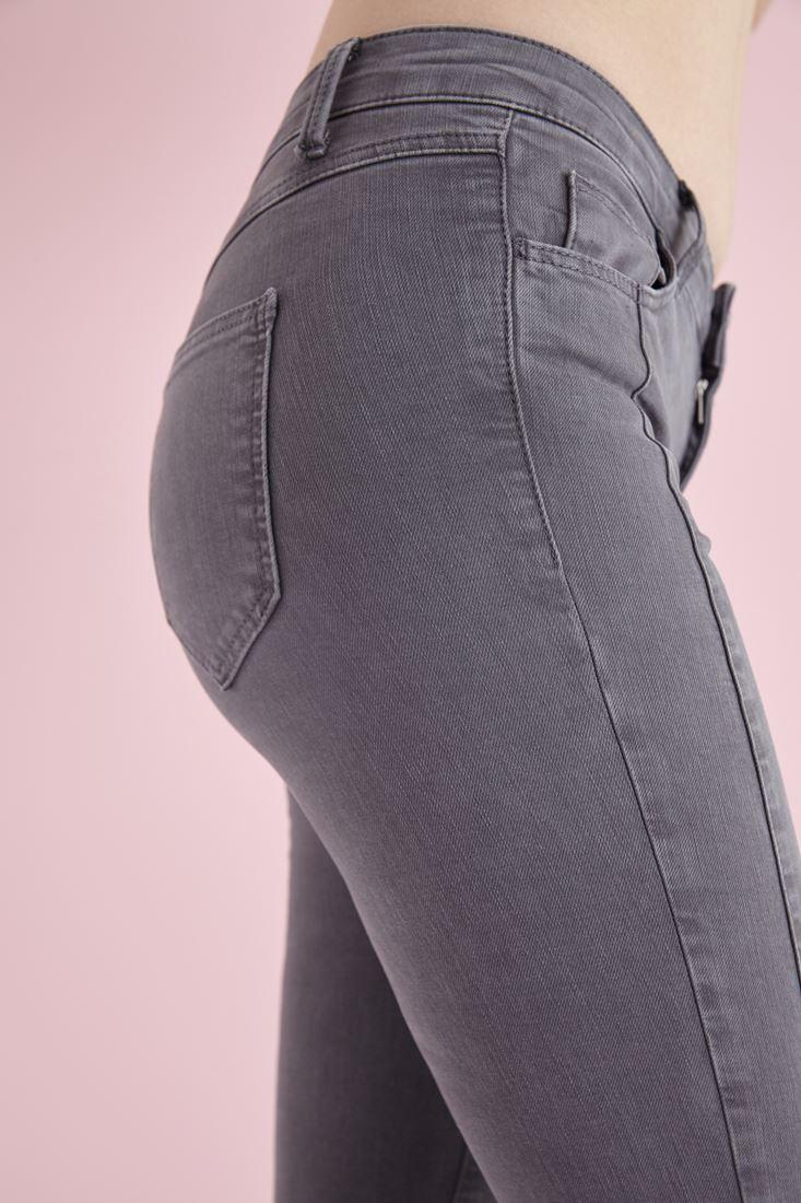 Bayan Gri Düğme Detaylı Dar Paça Pantolon