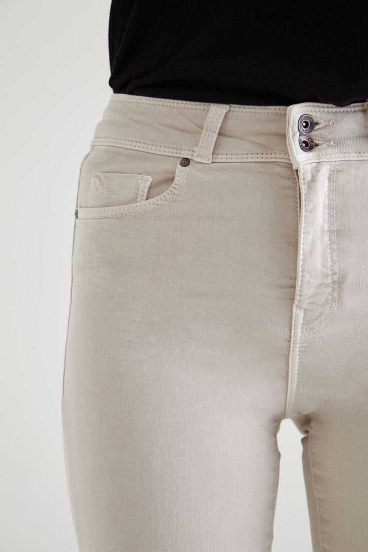 Bayan Krem Yüksek Bel Skinny Esnek Pantolon