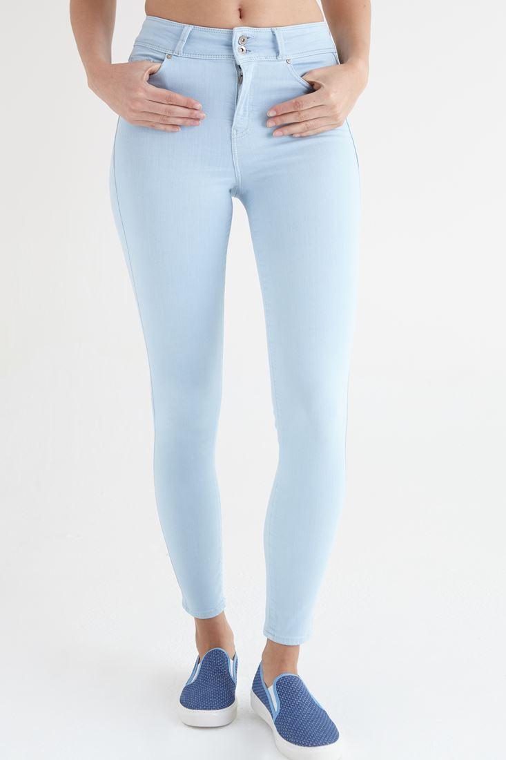 Bayan Mavi Yüksek Bel Skinny Esnek Pantolon