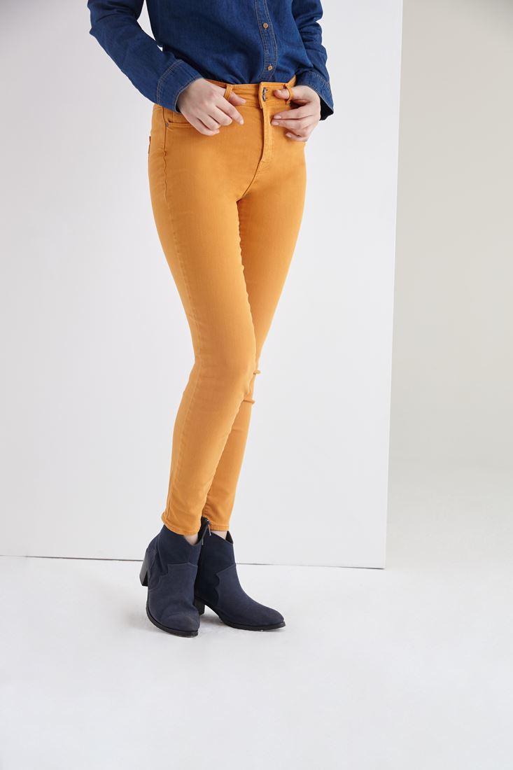 Bayan Turuncu Yüksek Bel Skinny Esnek Pantolon