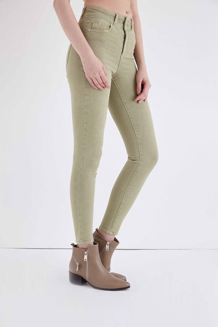 Bayan Yeşil Yüksek Bel Skinny Esnek Pantolon