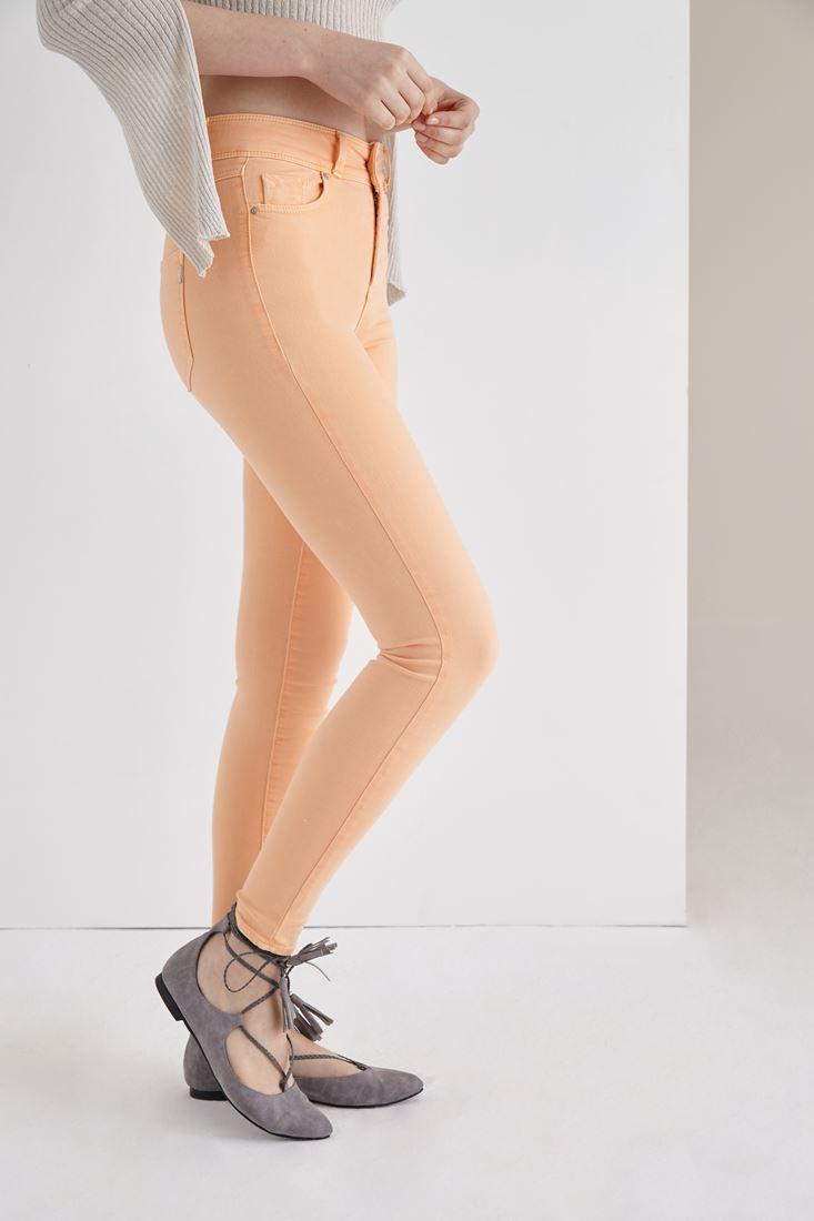 Turuncu Yüksek Bel Skinny Esnek Pantolon