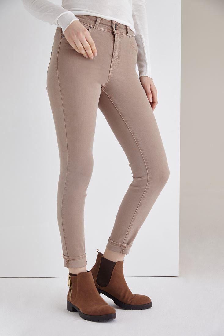 Bayan Kahverengi Yüksek Bel Skinny Esnek Pantolon