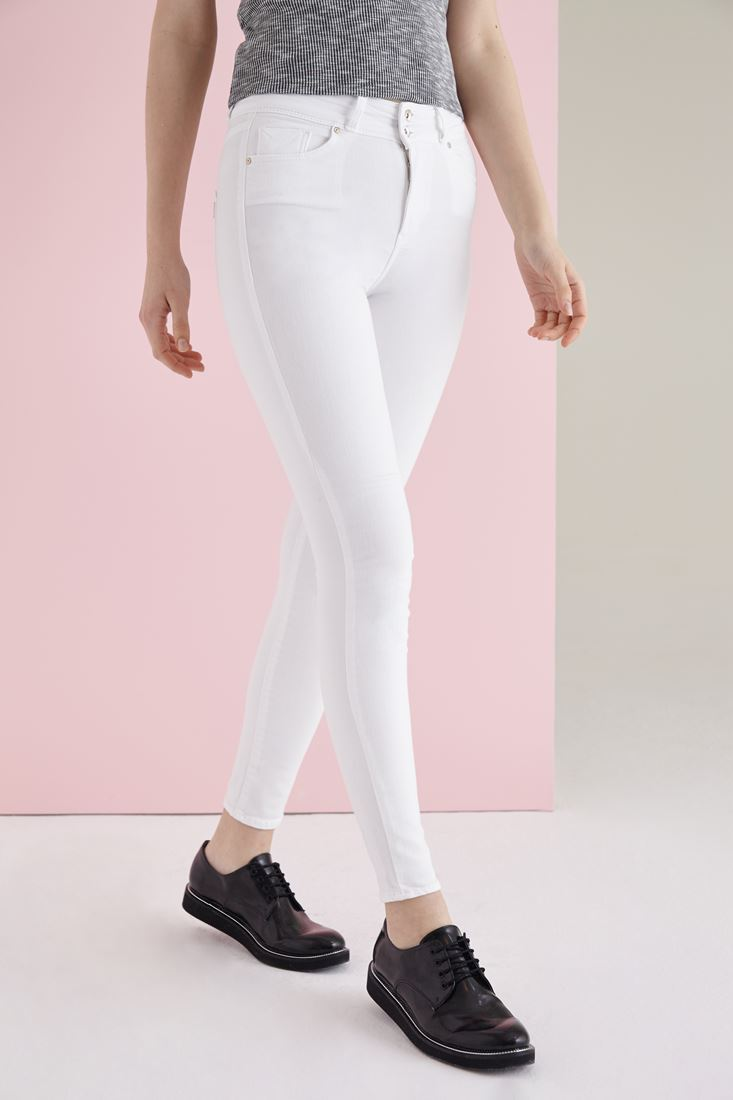 White High Rise Skinny Pants