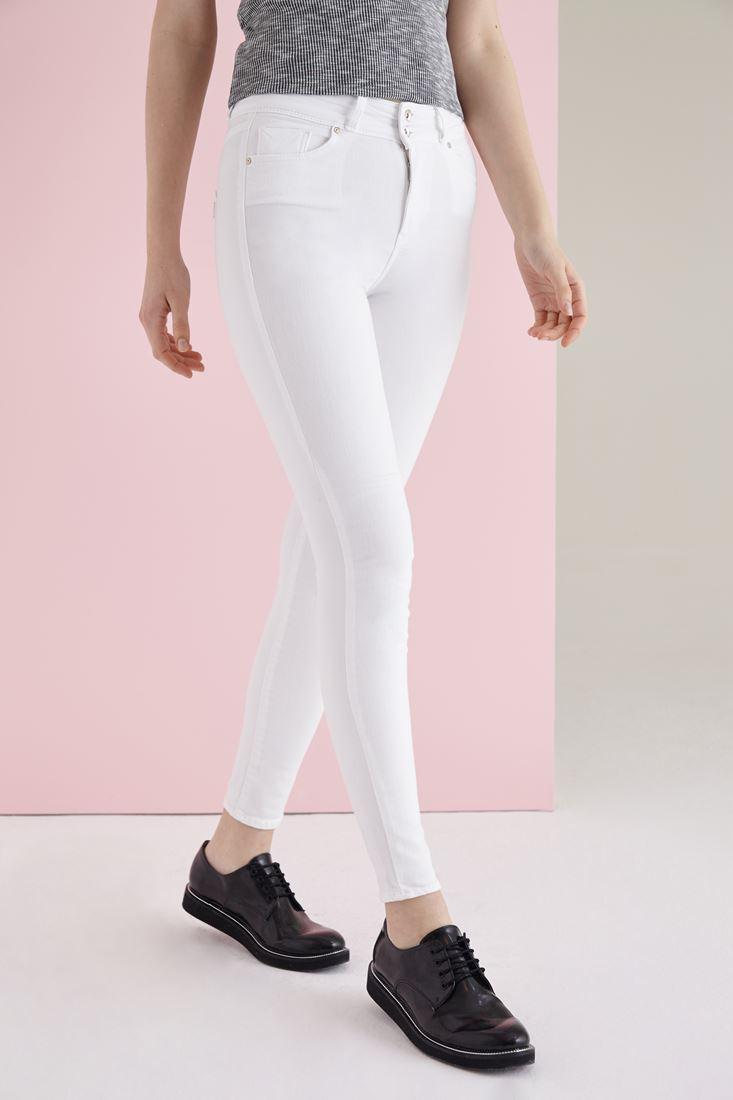 Beyaz Yüksek Bel Skinny Esnek Pantolon