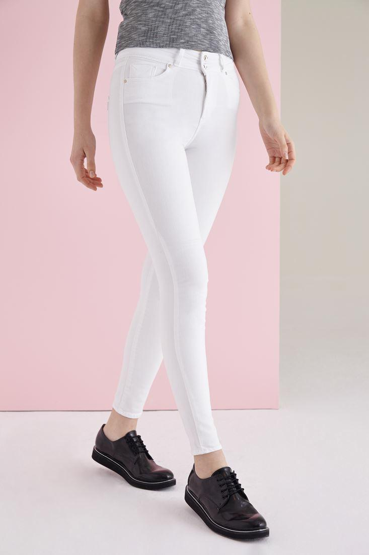 Bayan Beyaz Yüksek Bel Skinny Esnek Pantolon