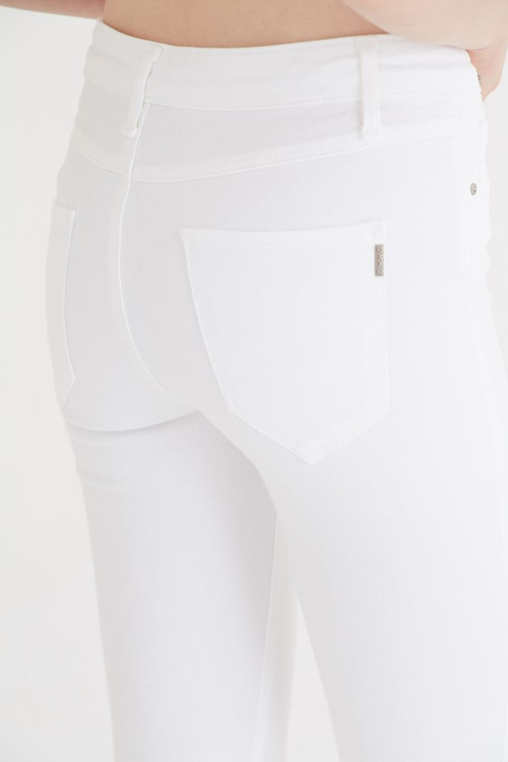 Bayan Beyaz Düşük Bel Pantolon
