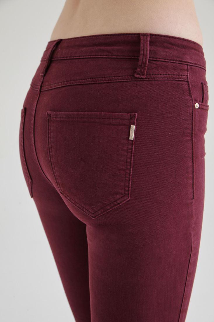 Bayan Bordo Düşük Bel Dar Paça Esnek Pantolon