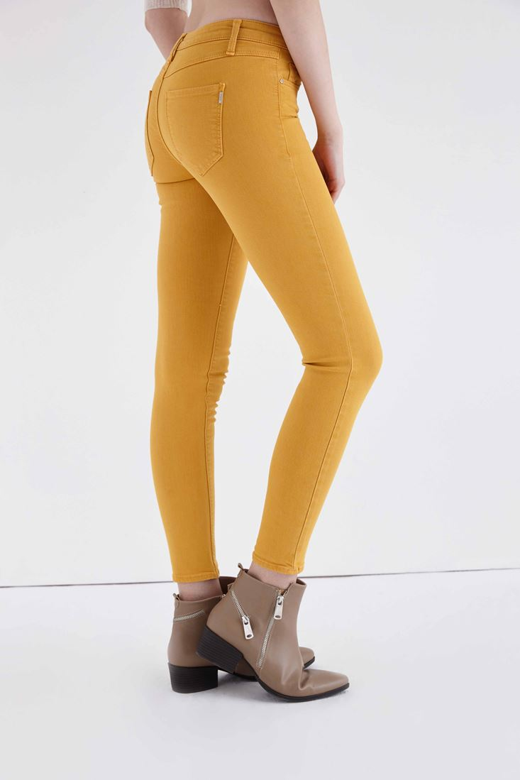 Sarı Düşük Bel Dar Paça Esnek Pantolon