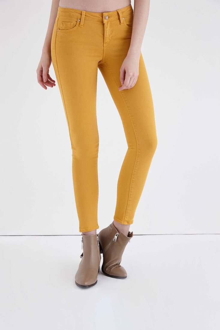 Bayan Sarı Düşük Bel Dar Paça Esnek Pantolon