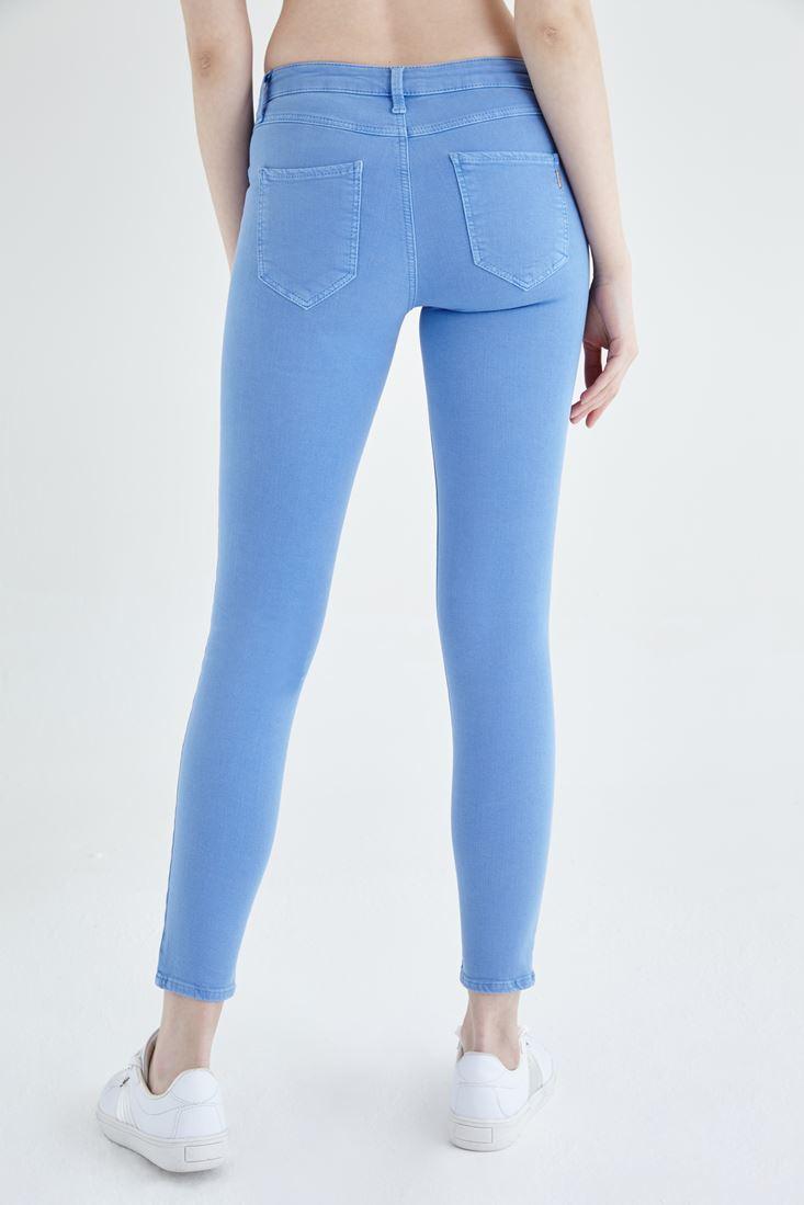 Bayan Mavi Düşük Bel Dar Paça Esnek Pantolon