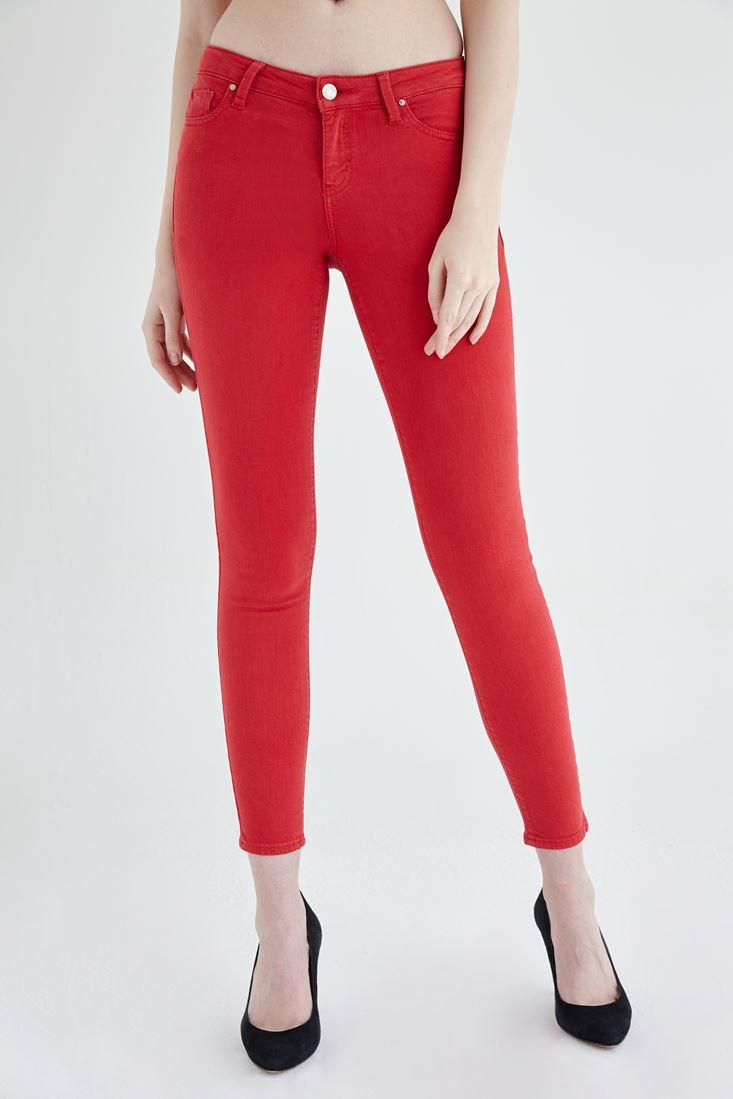 Kırmızı Düşük Bel Dar Paça Esnek Pantolon
