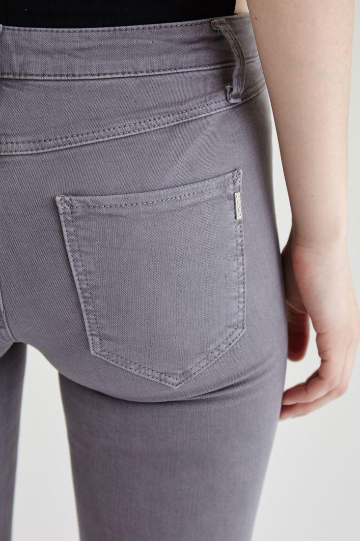 Bayan Gri Düşük Bel Dar Paça Esnek Pantolon