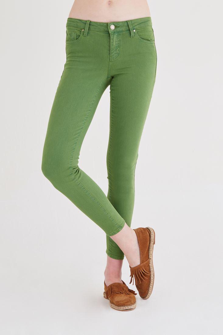 Yeşil Düşük Bel Dar Paça Esnek Pantolon