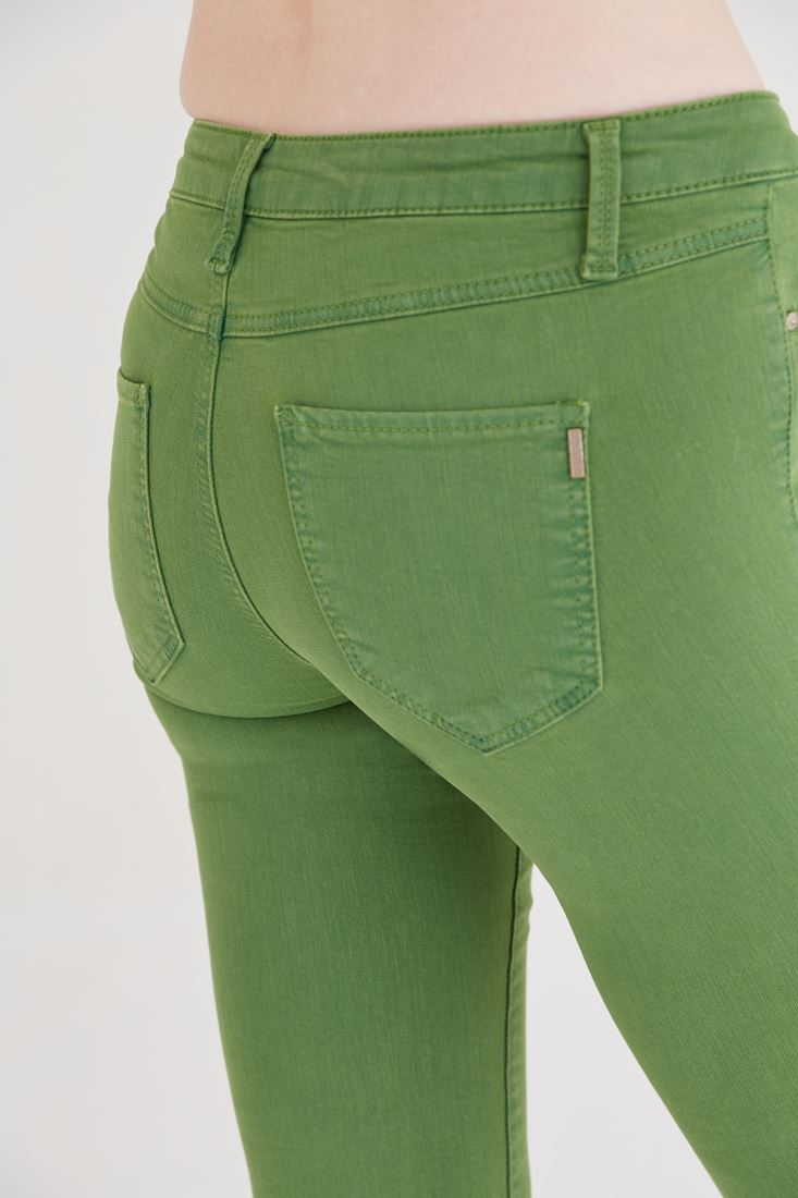 Bayan Yeşil Düşük Bel Dar Paça Esnek Pantolon