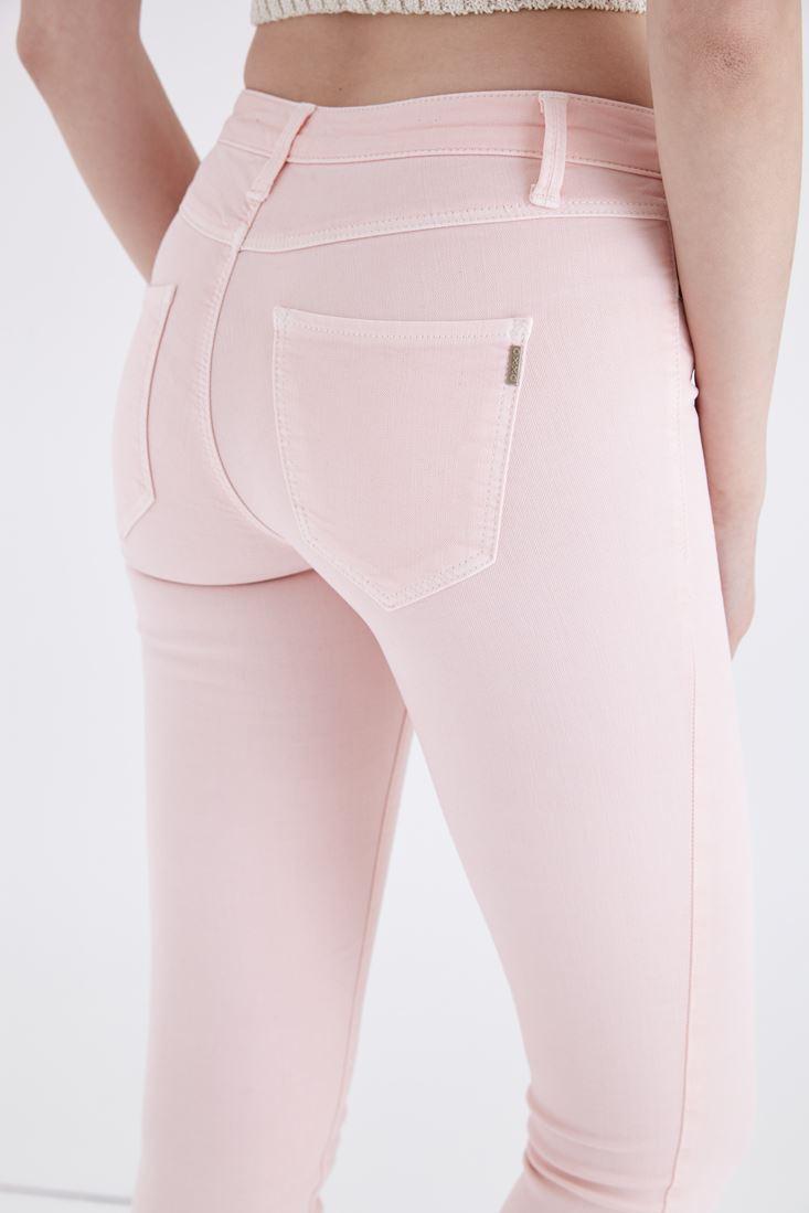 Bayan Pembe Düşük Bel Dar Paça Esnek Pantolon