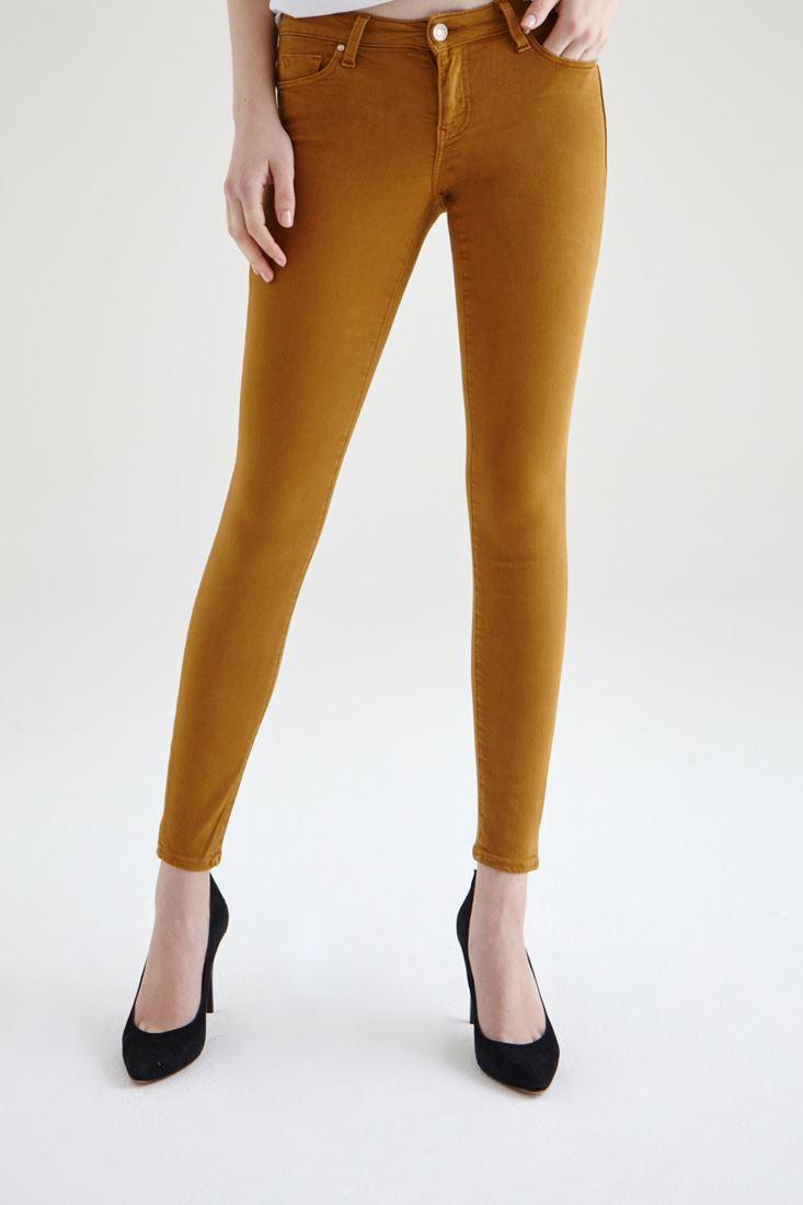 Turuncu Düşük Bel Dar Paça Esnek Pantolon