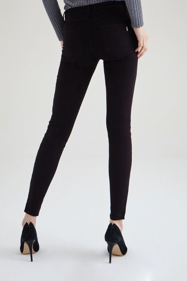Bayan Siyah Düşük Bel Dar Paça Esnek Pantolon