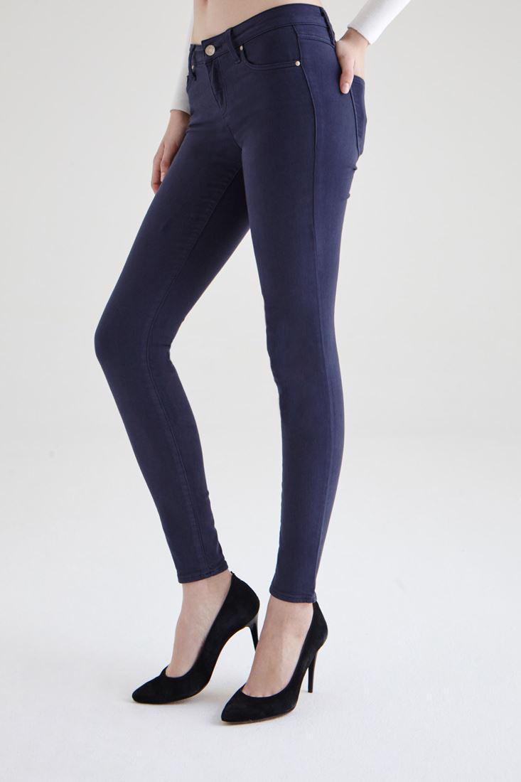 Bayan Lacivert Düşük Bel Dar Paça Esnek Pantolon