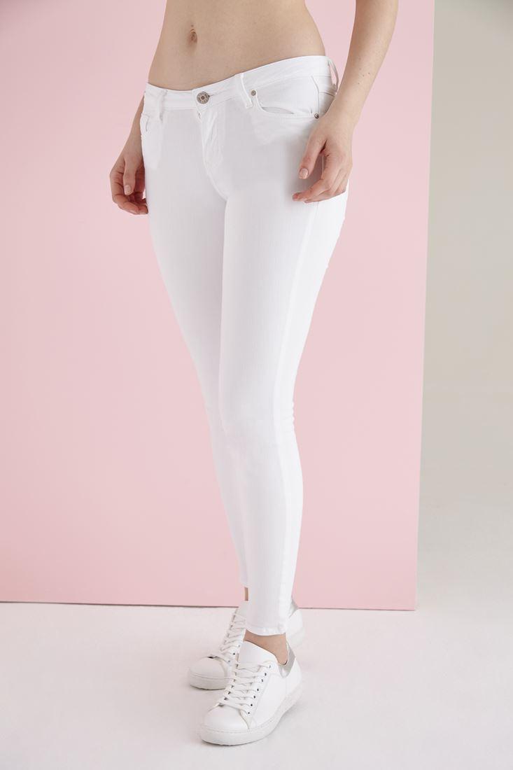 Beyaz Düşük Bel Dar Paça Esnek Pantolon