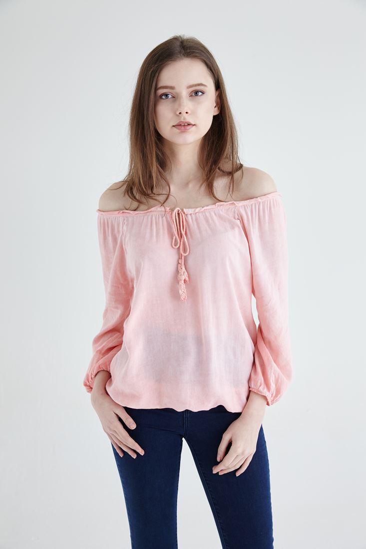 Bayan Pembe Kayık Yaka Bluz