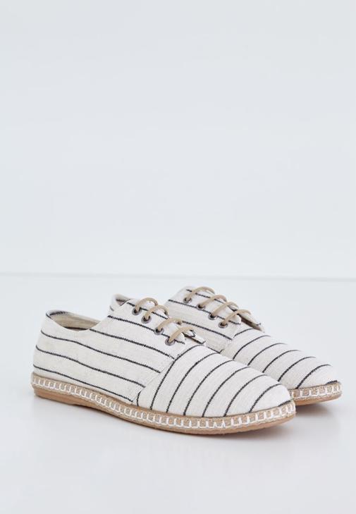 Siyah Çizgi Detaylı Espadril Ayakkabı