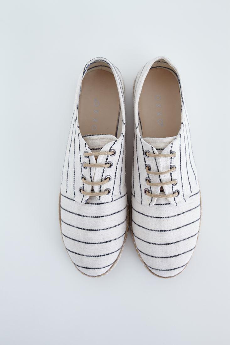 Bayan Siyah Çizgi Detaylı Espadril Ayakkabı