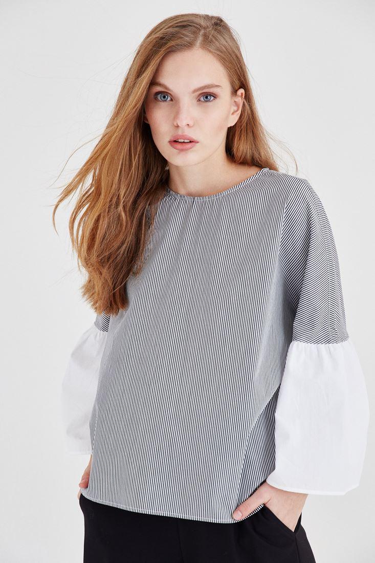 Lacivert Çizgili Bluz