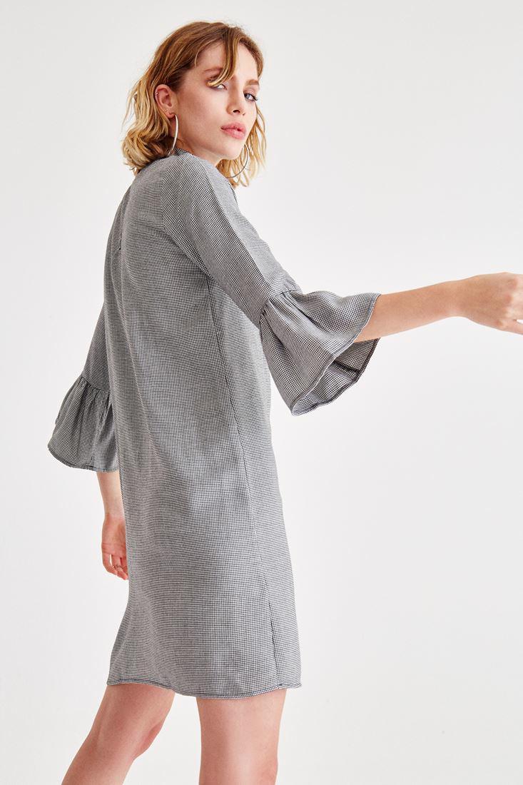 Bayan Siyah Kolları Volanlı Kısa Elbise