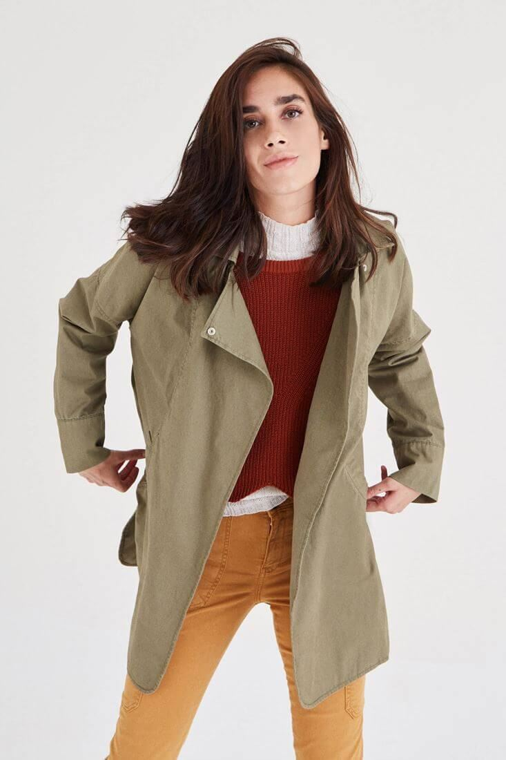 Green Coat With Collar Detail
