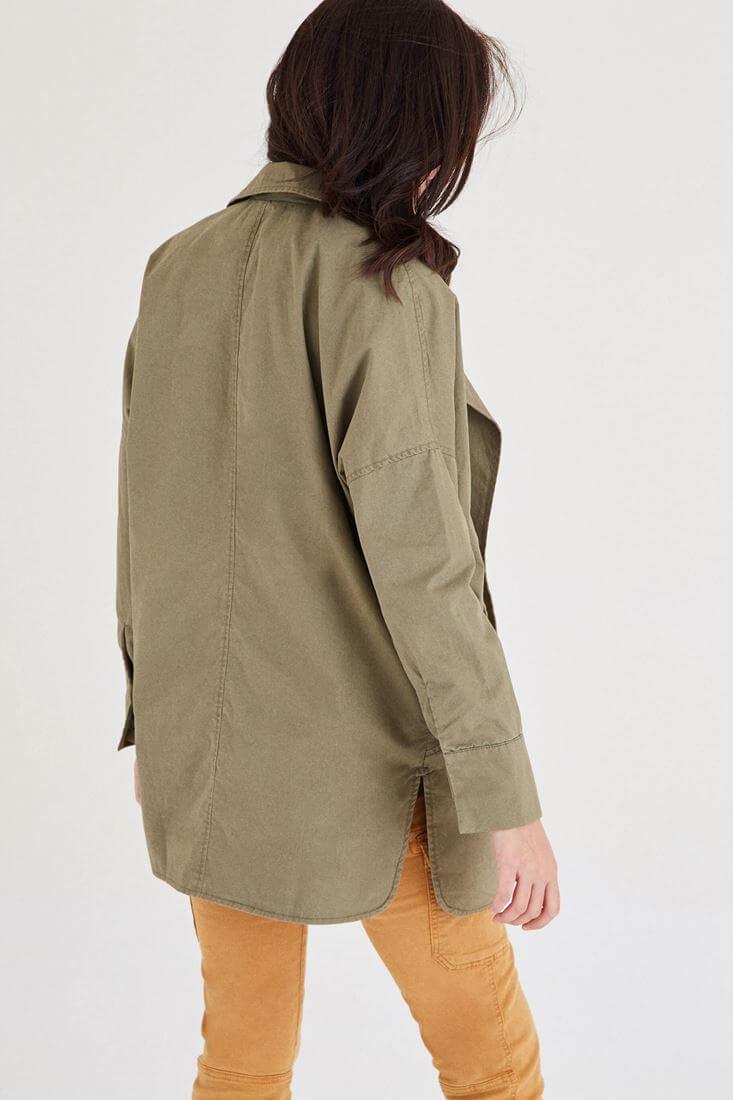 Bayan Yeşil Geniş Yakalı Ceket