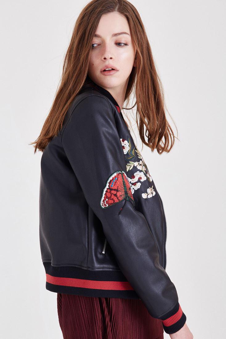 Women Black Leather Jacket With Embroidery Detailed