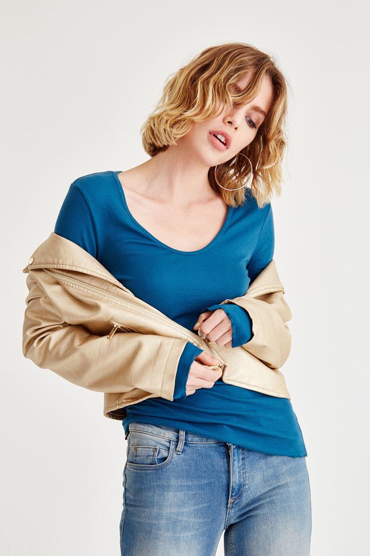 Blue Long Sleeve Basic T-shirt