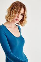 Bayan Mavi Uzun Kollu Basic Tişört